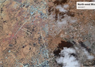 These satellite images show changes in settlement in the north western outskirts of Mogadishu (between 2012 and 2018). The distinctive (round) Somali National University compound is visible in south-west corner of image. The large junction near the University is now at the intersection of Dharkeynley, Kahda, Deynille and Hodan districts. The 2018 image shows extensive IDP settlement and city expansion along the road to Afgoye running north-west out of city. A similar density of tent and corrugated metal huts currently continues for several kilometers beyond what is pictured here (Source: Google Earth).