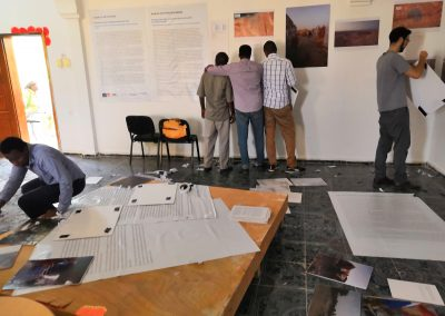 Setting up the Baidoa exhibition